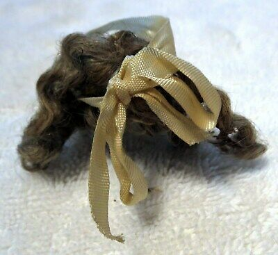 Antique Mohair Wig, Dark Blonde or Light Brown For Bisque Doll w/Ribbon