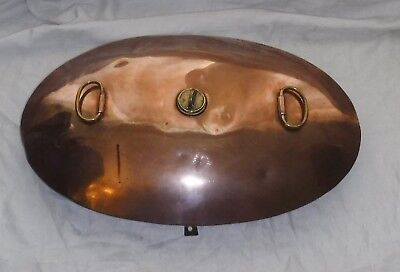 """Rare Antique Copper Oval Carriage Foot Warmer 25 1/2"""" X 17"""" Very Useable Tactile"""