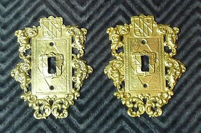 vintage pair cast brass virginia metal crafters switch plate covers 24-17 ornate