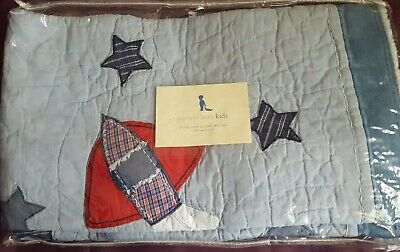 Pottery Barn Kids NOAH Crib//Toddler Quilt Blue//Grey Stitched Stripes $149