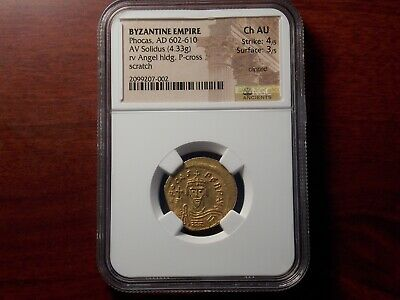 AD 602-610 Byzantine Empire PHOCAS Solidus gold coin NGC Ch AU
