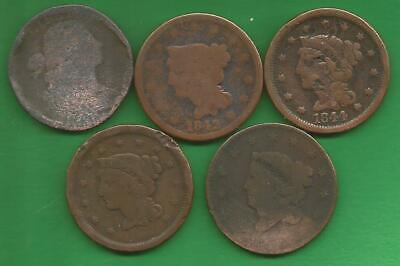 Five Large Cents Culls, (180?-1850)!!!