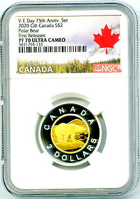 2020 Canada $2 Gilt Silver Proof Polar Bear Toonie Ngc Pf70 Ucam First Releases