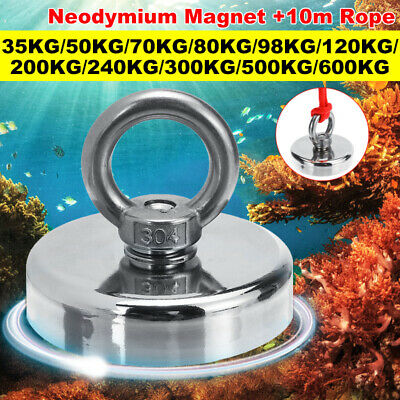 600KG D120mm Super Strong Neodymium Magnet 304 Steel Sea Fishing Tool + 10M Rope