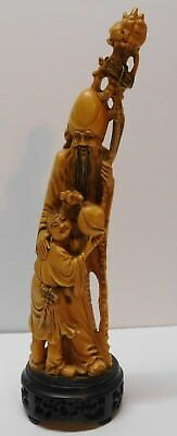 """Chinese Wise Man with Staff Child Fruit Hand Carved Signed Vintage 13"""""""