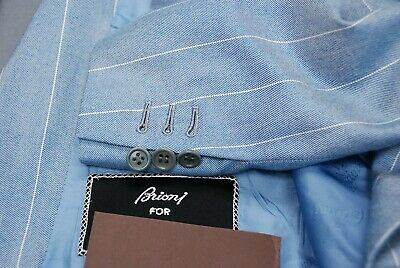 Stunning BRIONI cashmere silk custom bespoke men's blue sport jacket coat 46L