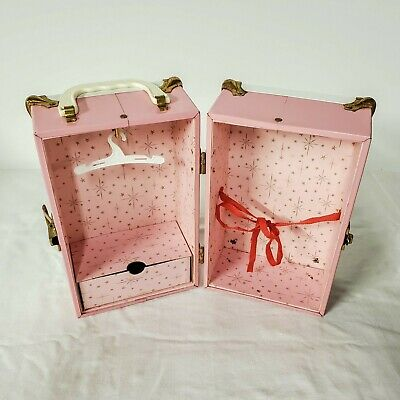 Vtg 1950s Cass Toys Pink Metal Doll Trunk Steamer Suit Case Travel Wardrobe