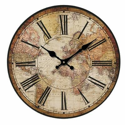 """Wall Clock 14"""" World Map Travel Antique Vintage Style Shabby Chic Farmhouse"""