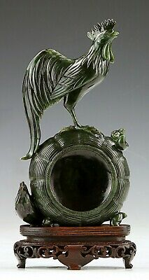 A Chinese Carved Spinach Jade Vase
