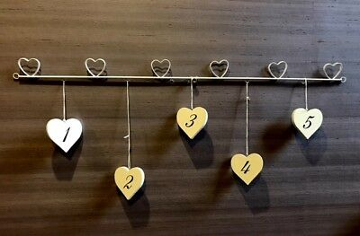 22 x 74cm 3 Painted Shabby Chic Wooden Hearts Hanging Photo Frame on Ribbon