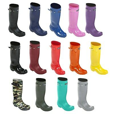 Womens Ladies Girls Tall Festival Wellington Wellie Boots Size 3 4 5 6 7 8
