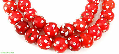 Skunk Venetian Trade Beads Red with White Dots Africa
