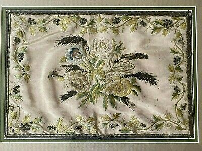 BEAUTIFUL Antique SILK EMBROIDERED FLOWERS Framed VICTORIAN Sequins Embroidery