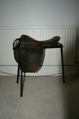 Vintage leather horse saddle and stand / quirky seat stool