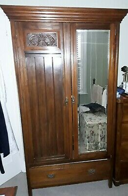 Early 20th Century Mahogany Wardrobe with Mirror collection only from tn31 Rye