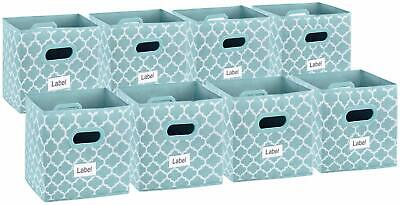 Shabby Chic Country Farmhouse Style Set of 8 Blue Patterned Fabric Storage Bins