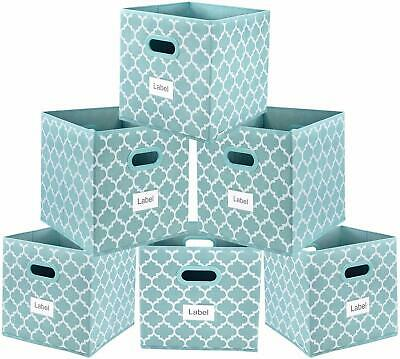 Shabby Chic Country Farmhouse Style Set of 6 Blue Patterned Fabric Storage Bins
