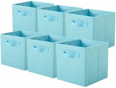 Shabby Chic Country Farmhouse Style Set of 6 Light Blue Fabric Storage Bins