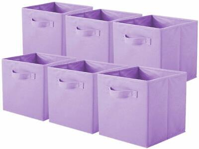 Shabby Chic Country Farmhouse Style Set of 6 Purple Fabric Storage Bins