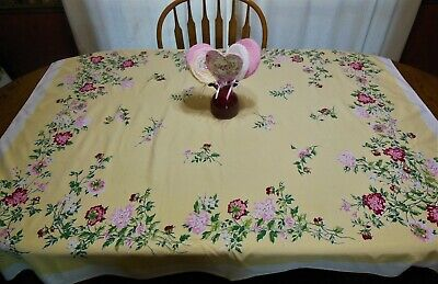 HTF Vintage LEACOCK Tablecloth Pink Red Peonies Daisy like Flowers