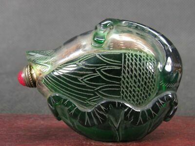 Chinese Swan Shape Carved Peking Overlay Glass Snuff Bottle