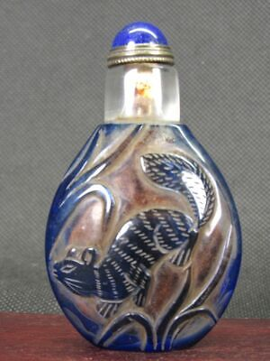 Chinese Squirrel Carved Peking Overlay Glass Snuff Bottle