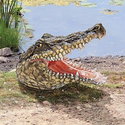 Alligator Head Replica Sculpture Home Garden Pond Crocodile Outdoor Decor