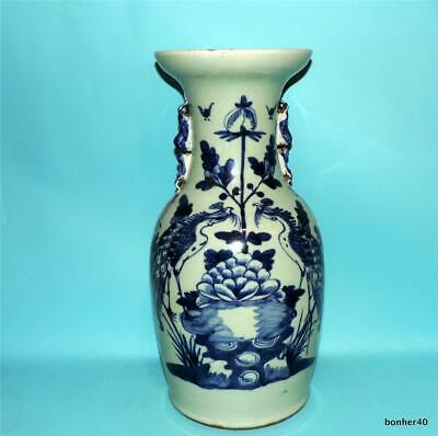 CHINESE PORCELAIN WONDERFUL CELADON BLUE WHITE PHOENIX BIRD VASE FO DOGS 19thc