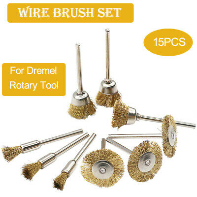 15PC Heavy Duty Drill Wire Wheel Cup Flat Brush Metal Cleaning Rust Sanding Set