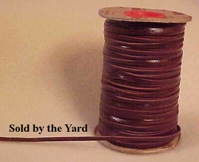 BRANDY (BROWN) Kangaroo Leather Lacing in 3/32 Inch Width - SOLD BY THE YARD
