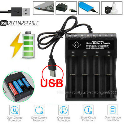 UK 4 Slot 18650 Li-ion Battery Charger USB Fast Charge Dual for 3.7V 18500 14500