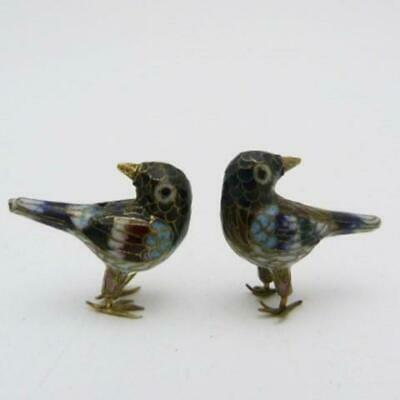 Pair Of Vintage Chinese Cloisonne Exotic Birds