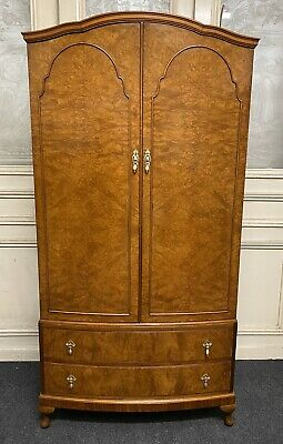 Burr Walnut Bow Front 2 Door Wardrobe, Bedroom, Queen Anne, Circa 1920,