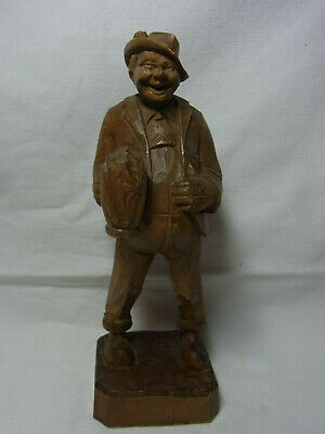Vintage German Folk Art Wood Carved Bavarian Man with Beer #X