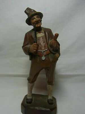 Vintage German Folk Art Wood Carved Bavarian Man with Umbrella #X