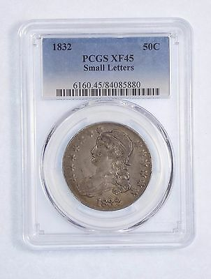 1832 SMALL Letters Capped Bust/Lettered Edge Half Dollar PCGS XF 45 Silver 50c