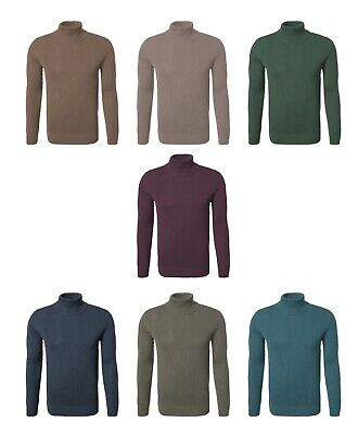 Mens Warm Cotton Roll Polo Turtle Neck Thick Ribbed Textured Pullover Jumper Top