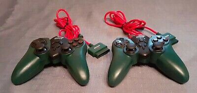 Pair Of Jaguar Racing Sony PlayStation PS1 PS2 Green Controllers Control Pads