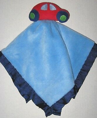 Nursery Rhyme  Blue Security Blanket Red Car Rattle Baby Lovey Plush Satin Toy
