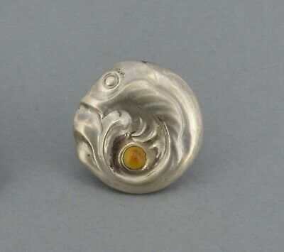 Very Early Georg Jensen Button 1909-14 Denmark Silver Amber Fish Art Nouveau (2)