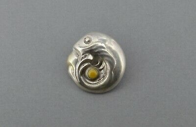 Very Early Georg Jensen Button 1909-14 Denmark Silver Amber Fish Art Nouveau (1)
