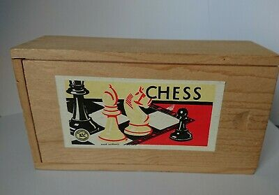 Vintage K & C London Wooden Chess Set 32 Pieces Wood Boxed  ( No Board)