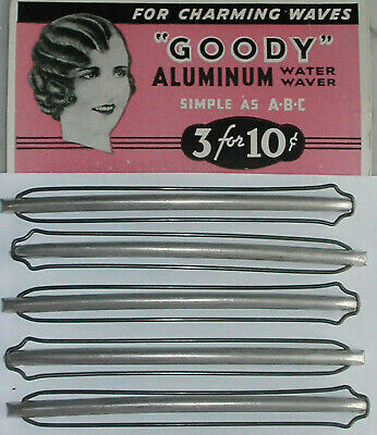 1920s, 30s Vintage Metal Wave Clips, Water Wavers, Flapper Hair w Instructions