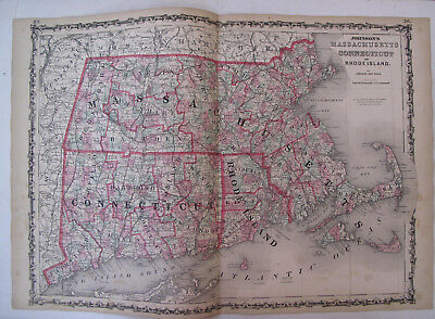 Hand Colored Map Johnson's Atlas Massachusetts Connecticut Rhode Island 1863