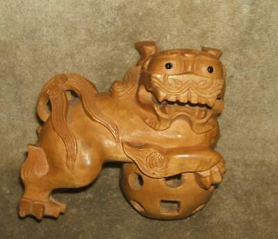 Early 1900 Hand Carved Wood Foo Dog with 2 Internal Puzzle Pieces