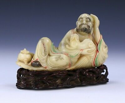 A Chinese Antique Shoushan Soapstone Carved Luohan