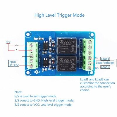 DC 12V 2 channel Relay Module H/L Level Trigger Optocoupler Isolator PLC Signal