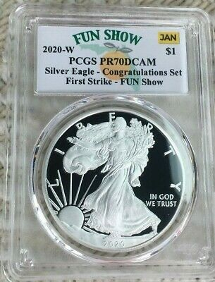 2020-W Proof $1 American Silver Eagle Congratulations PCGS PR70DCAM  FUN SHOW