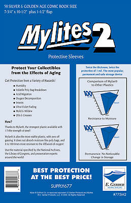 "Mylites 2 ""Protective Sleeves"" Pack Of 50 Silver/Golden Age Comic Size. E Gerber"