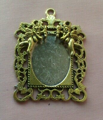 Dolls House Single Antique Gold Mirror/Picture Frame With Cherubs